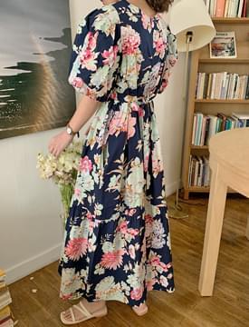 韓國空運 - Fancy Flower Pufflong Dress 長洋裝