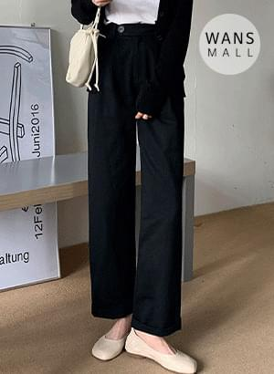 pt4063 rolled pintuck straight trousers