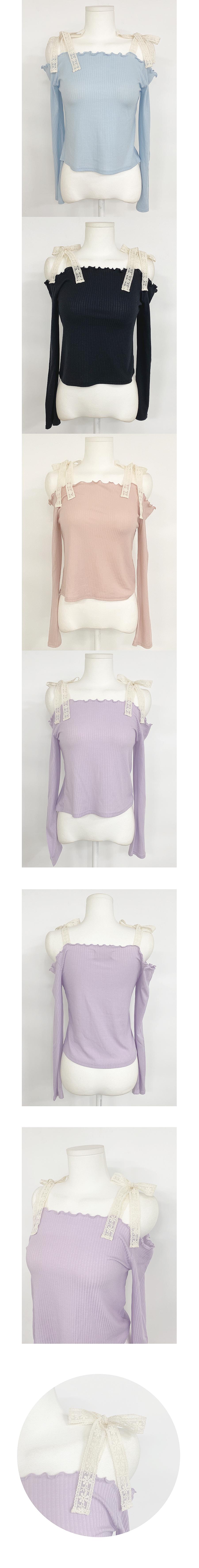 Yojo Lace Off Shoulder Knitwear 4color