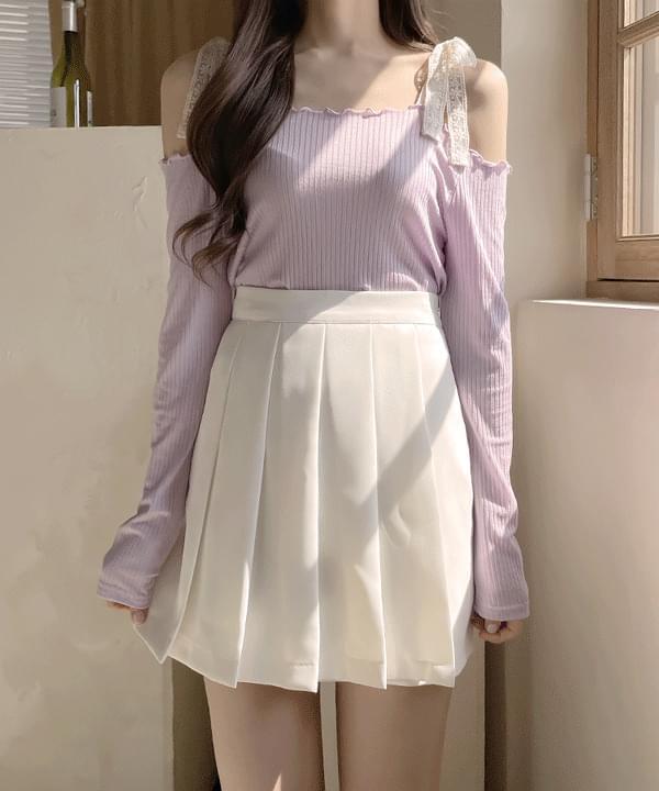 Stay pleats mini skirt 2color