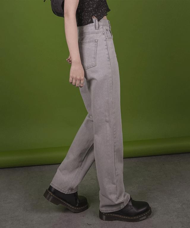 Pure straight denim trousers