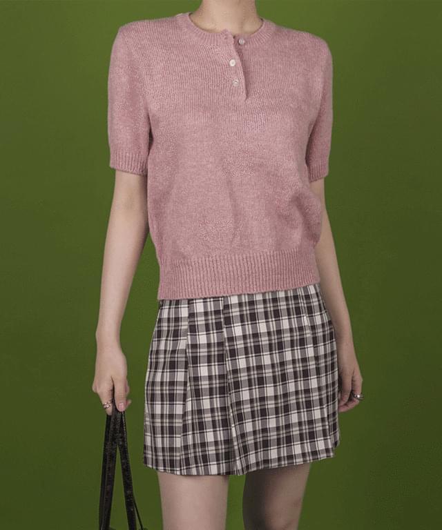 Barbie Henry Neck Short Sleeve Knitwear