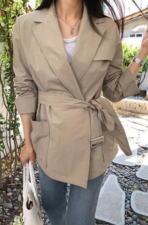Belted Basrock Half Wrap Jacket