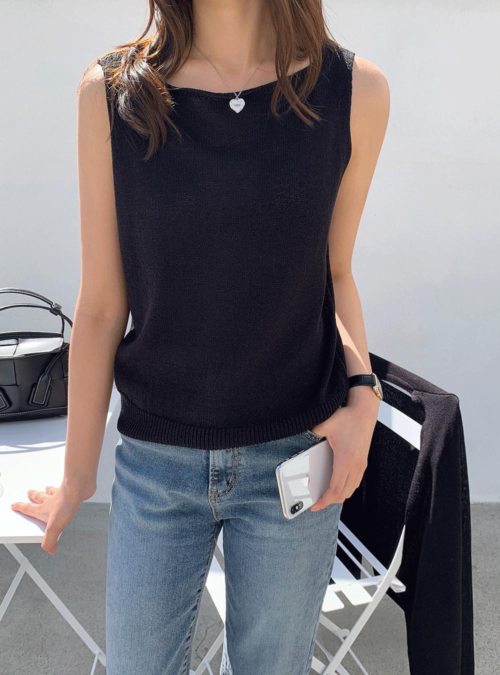 《Planned Product》 Summer Linen Lip Neck Knitwear Top