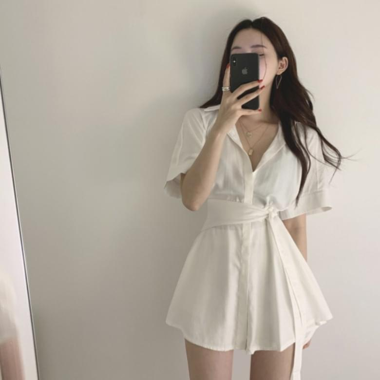 Shirt short sleeve shorts belt set