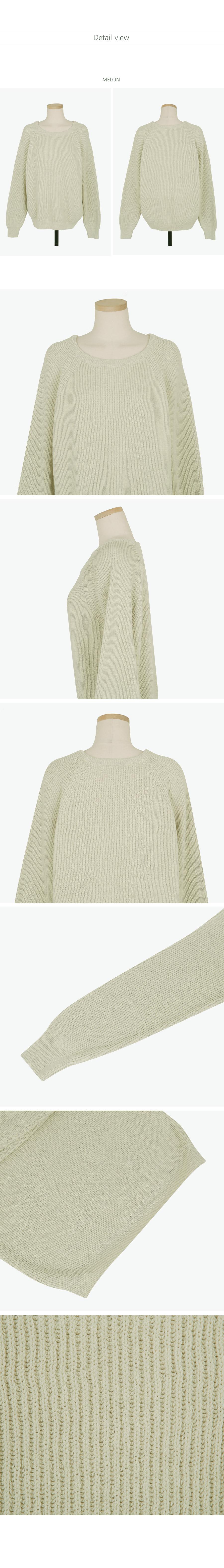 Rail round neck knit / Melon