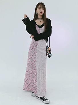 Bustier two-tone flower long Dress
