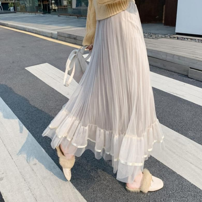 Chiffon pleated stitch long skirt