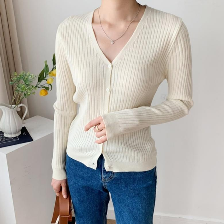 Basic Ribbed V-Neck Knitwear Cardigan