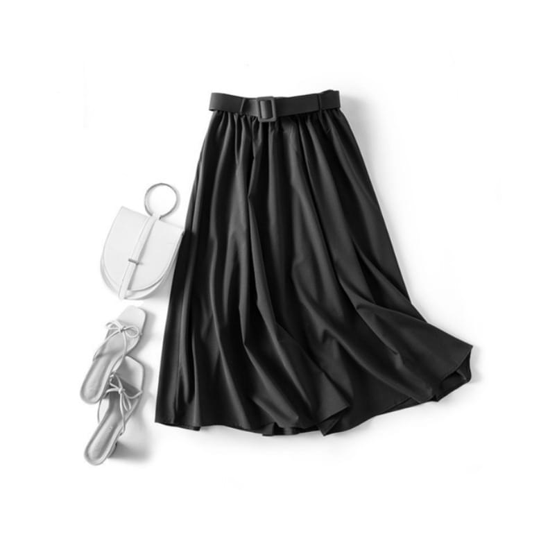 Simple plain silk waist belt A-line skirt
