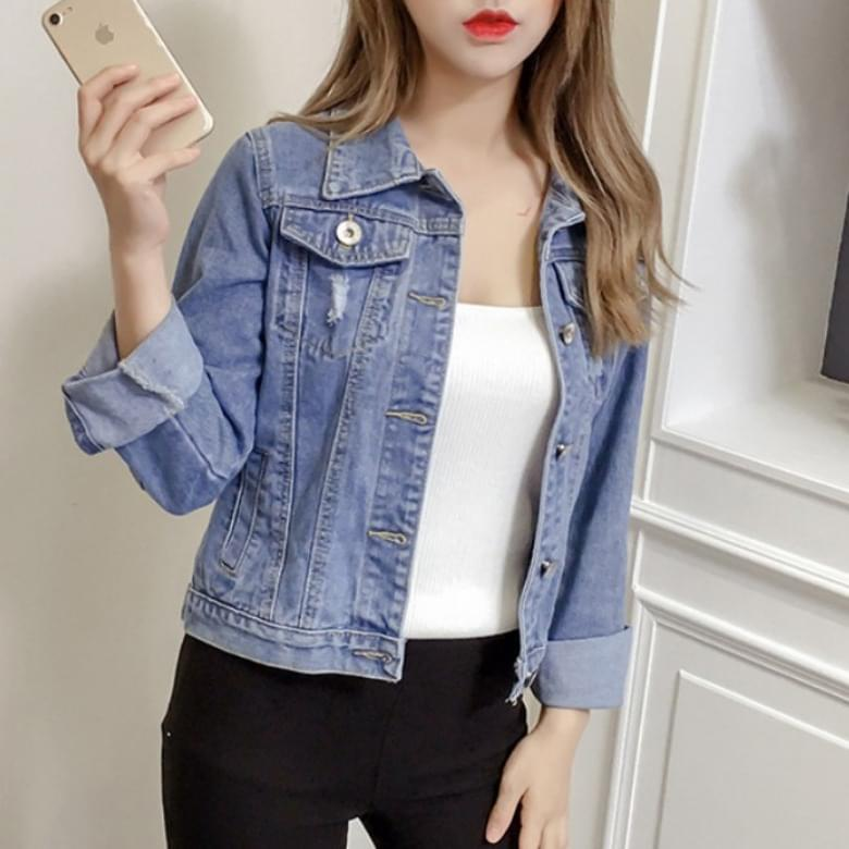 Claw casual slim denim denim short jacket