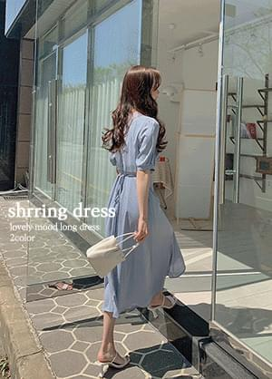 Toddy Ring Shirring Twisted Puff Long Dress