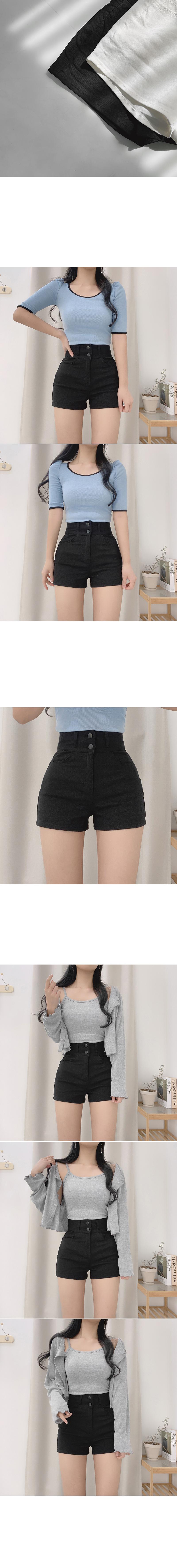Nagging two-button high-waist short pants