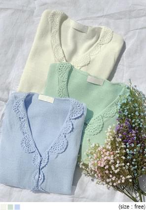 Crochet Scalloped Trim Cardigan