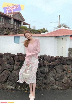 Flower wide pleated skirt