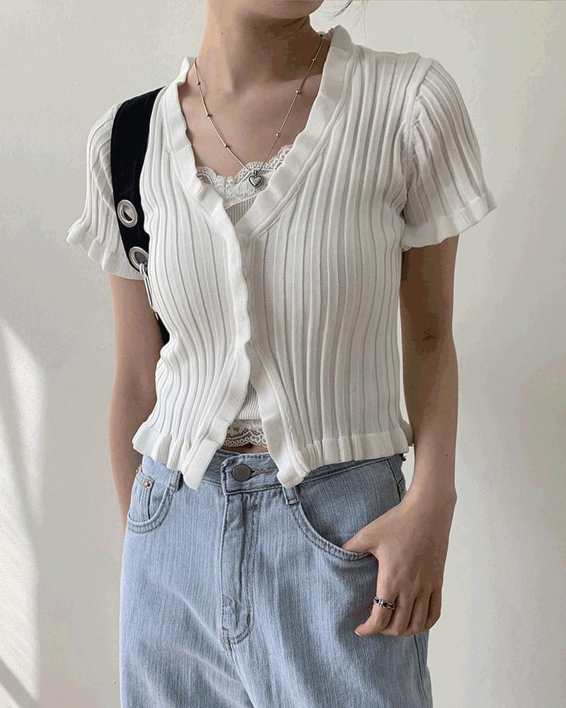 Jenny Wavy Ribbed Crop Short Sleeve Knitwear Cardigan