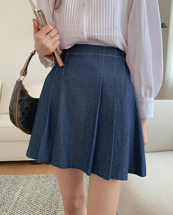 Juen pleated denim skirt
