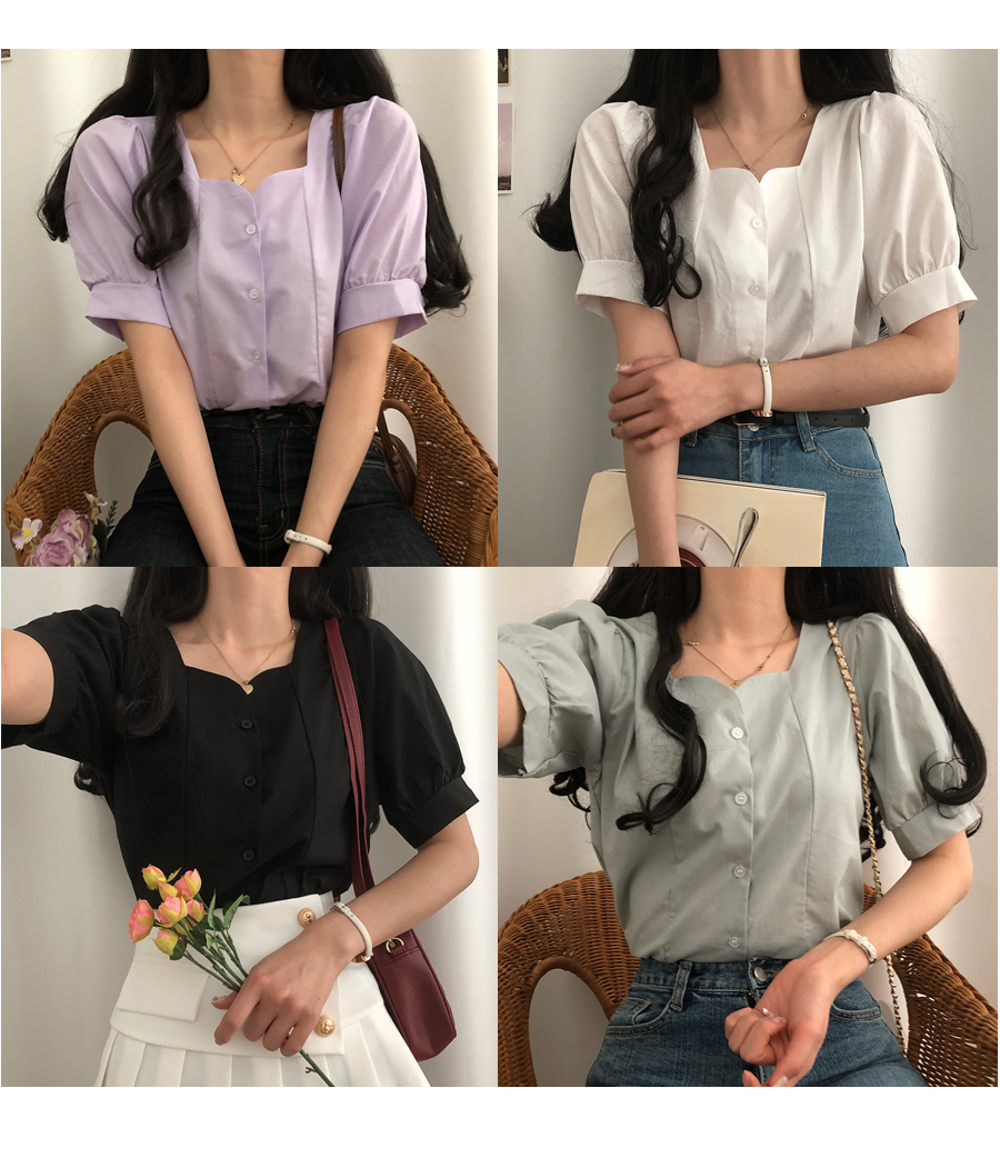 Bomin tulip-neck short-sleeved blouse