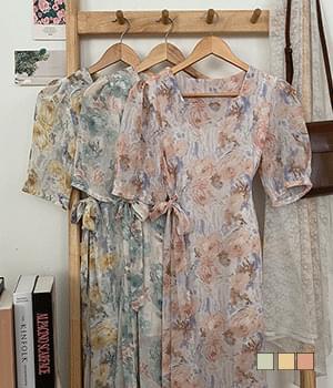 Watercolor Hanpok Square Neck Long Dress