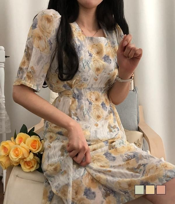 Watercolor Hanpok Square Neck Long Dress (Delayed delivery)