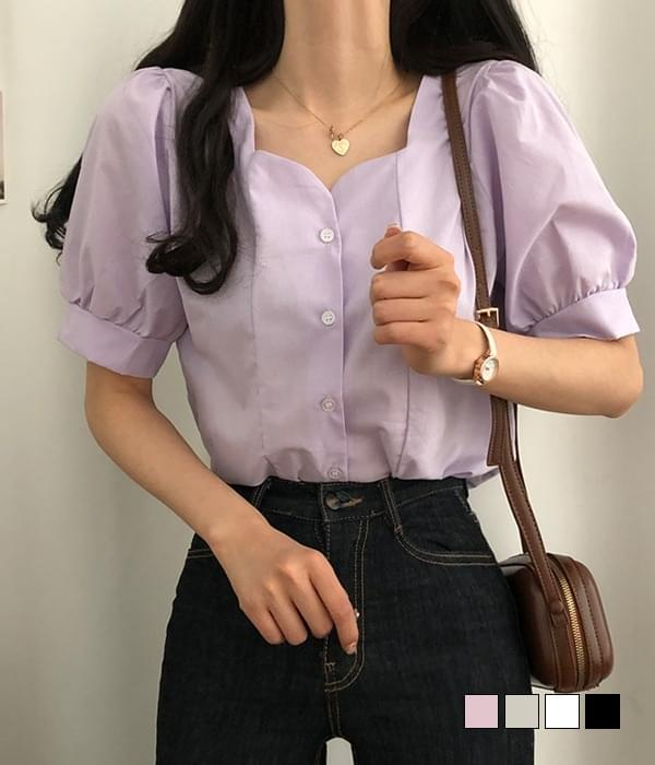 Bomin tulip-neck short-sleeved blouse (Delayed delivery)