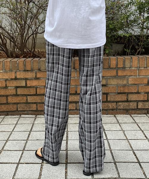Check wide banding trousers
