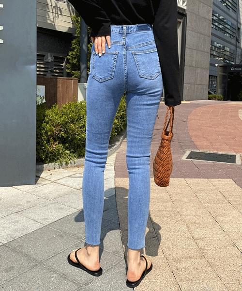 Deep High Waist Light Blue Skinny Jeans