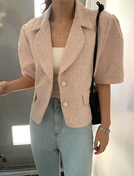 Milk Tea Puff Short Sleeve Tweed Jacket