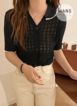 cd4267 Dell color color short sleeve cardigan