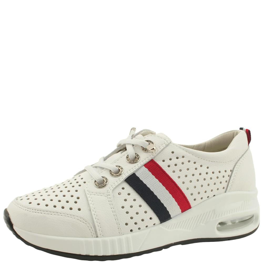 Cowhide Air Cushion Punching Sneakers White