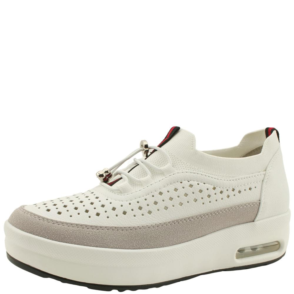 Cowhide Knitwear Combi Height Sneakers White