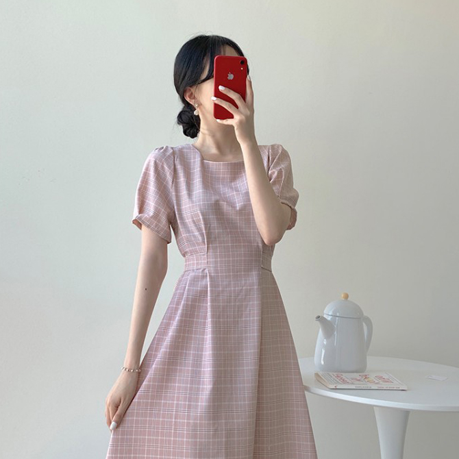 French romantic check Dress
