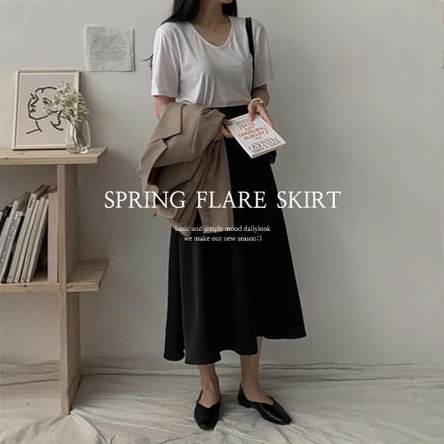 Lons Silket Flare Long Skirt