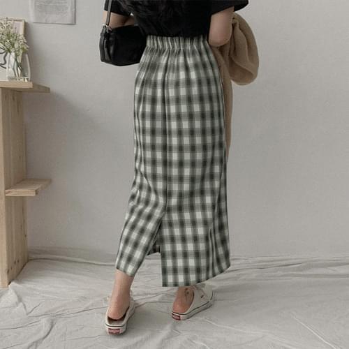 Clove check long skirt