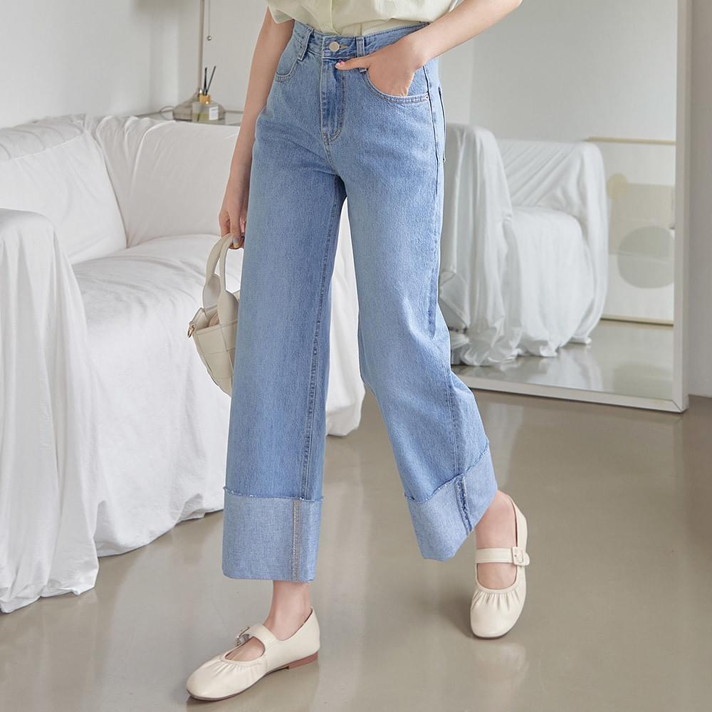 Eton roll-up wide denim trousers