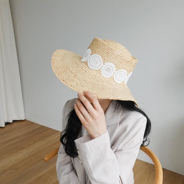 韓國空運 - Round lace rattan hat 帽子