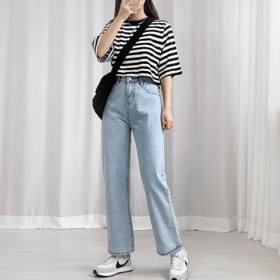 Cropped Striped Short Sleeve Tee