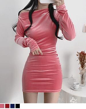 Sheer Velvet Off Shoulder Dress