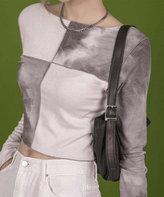 Code color printing cropped long-sleeved T-shirt