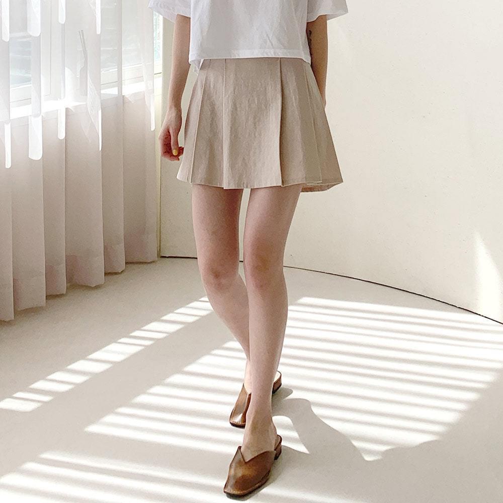 Momo linen pleated mini skirt