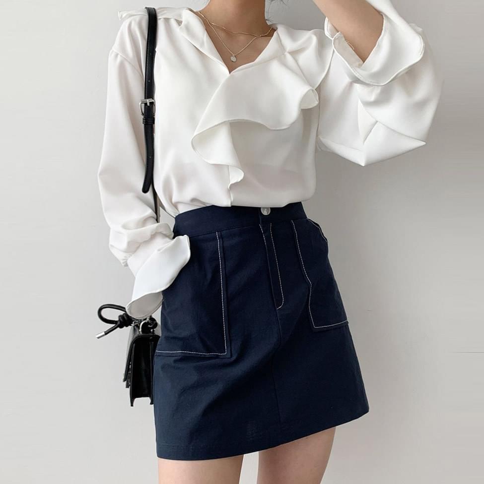 Big Stitch Cotton Mini Skirt