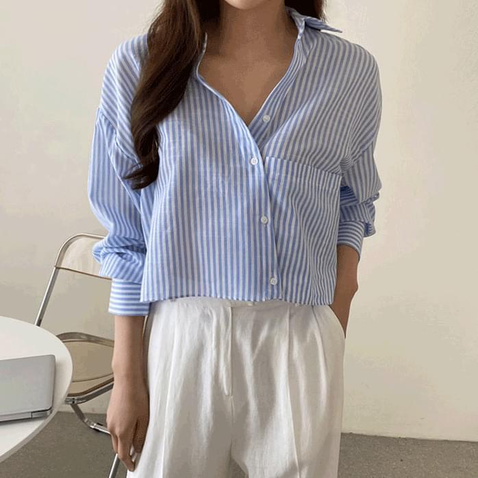 Neo Stripe Crop Shirt