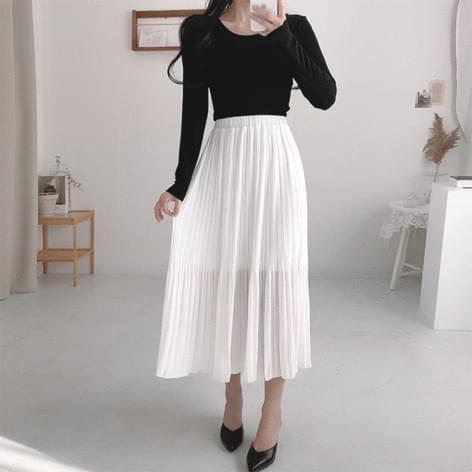 Chuul chiffon pleated long skirt