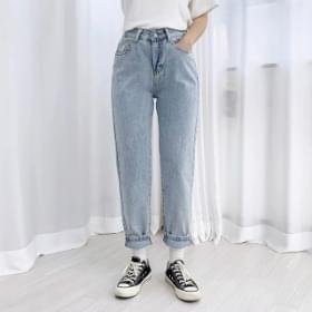 Baggy Fit Back Banding Denim Pants