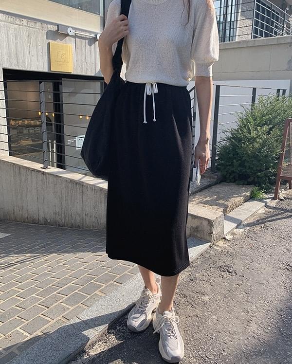 Miju banding split long skirt