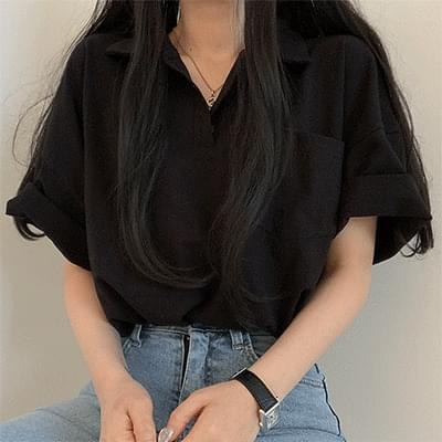 Boxy-fit Button Collar Short Sleeve Tee