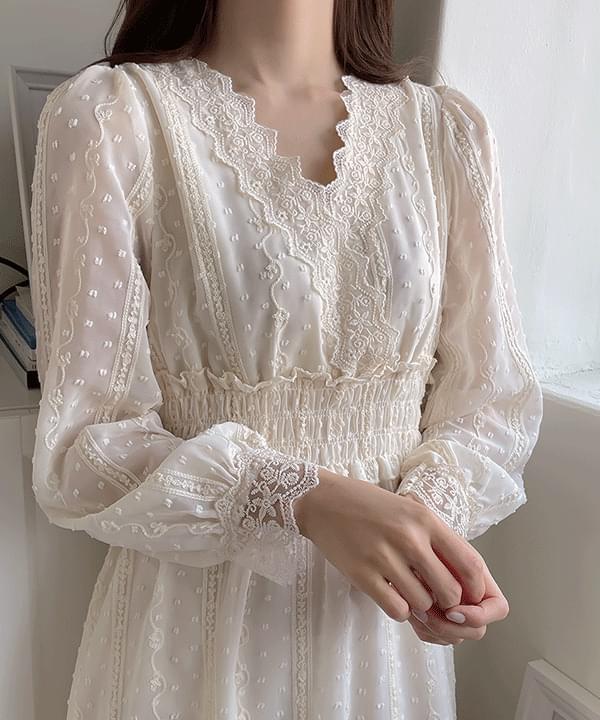 Sherbet Wedding Lace Smoke Long Dress 2color