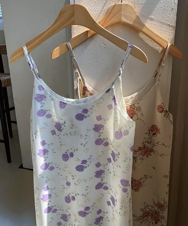 Antique Flower Slip Long Dress 2color