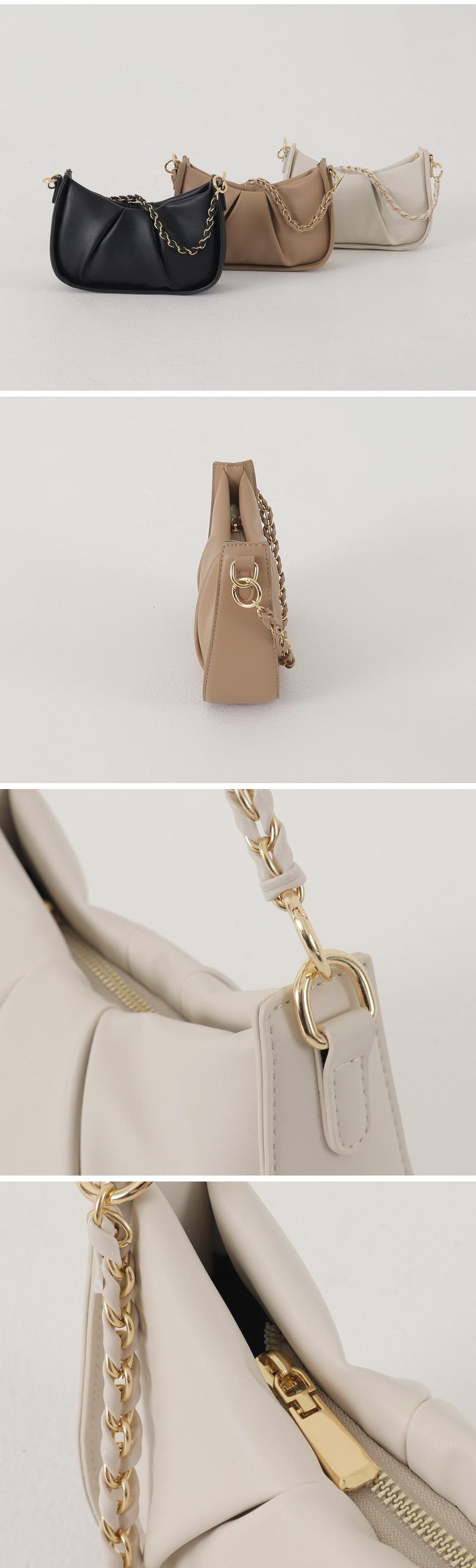 Shirred boat chain shoulder bag