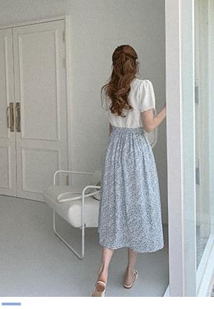 Silver and Silver Jelly Flower Flare Skirt